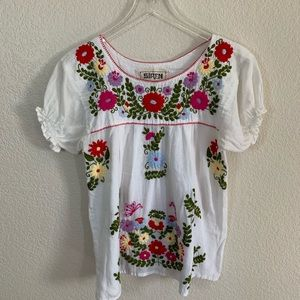 Boho top with embroidered flowers